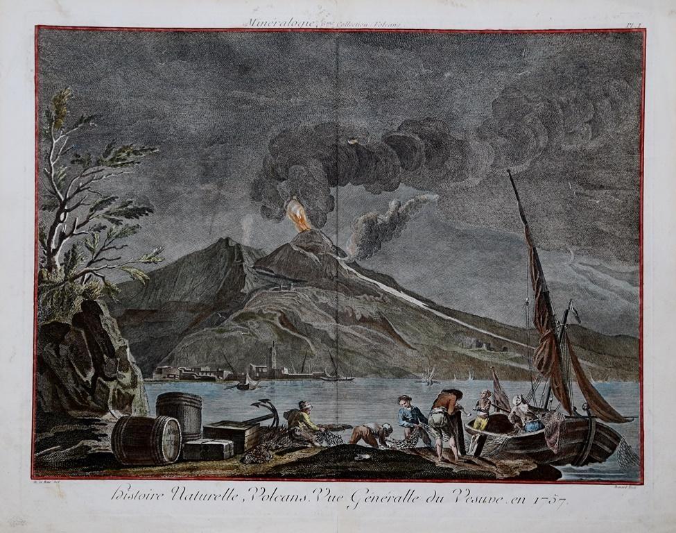 Histoire-Naturelle-Volcans-Vue-Généralle-du-Vesuve-en-1757-Jacques-Francois-BENARD-Editore-Parigi-1760