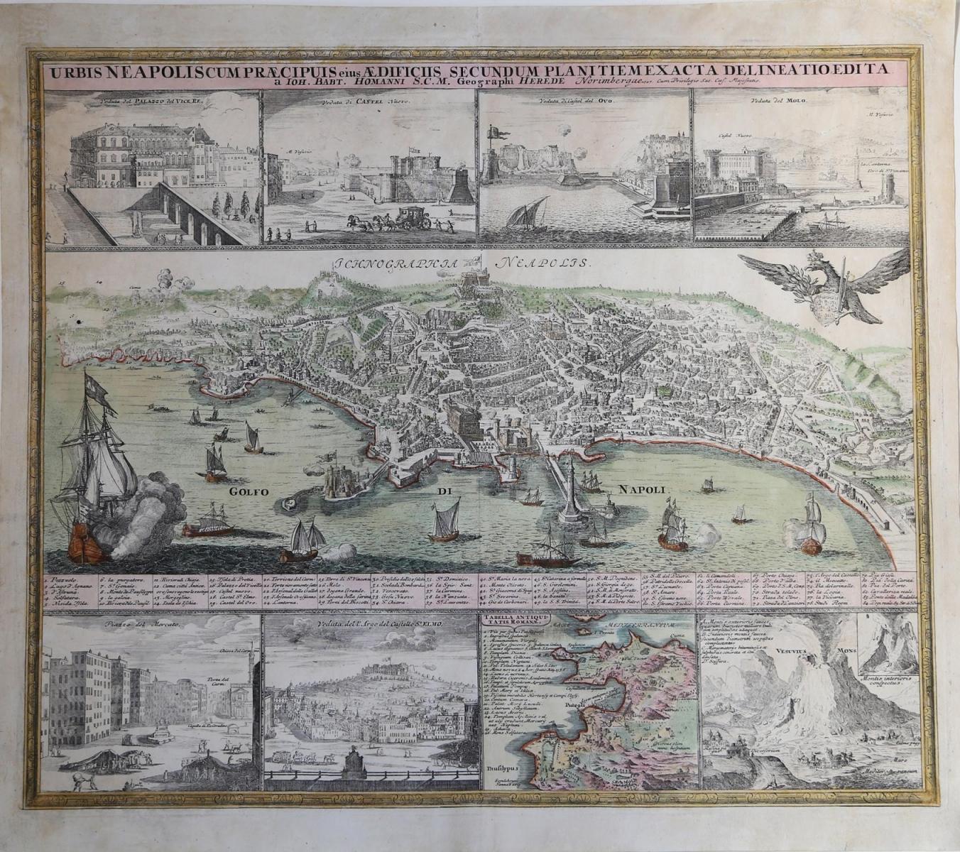 Urbis-Neapolis-Cum-Praecipuis-eius-Aedificiis-Secundum-Planitiem-Exacta-Delineatio-Edita-Eredi-Johannes-Baptiste-HOMANN-Editore-Norimberga-1727
