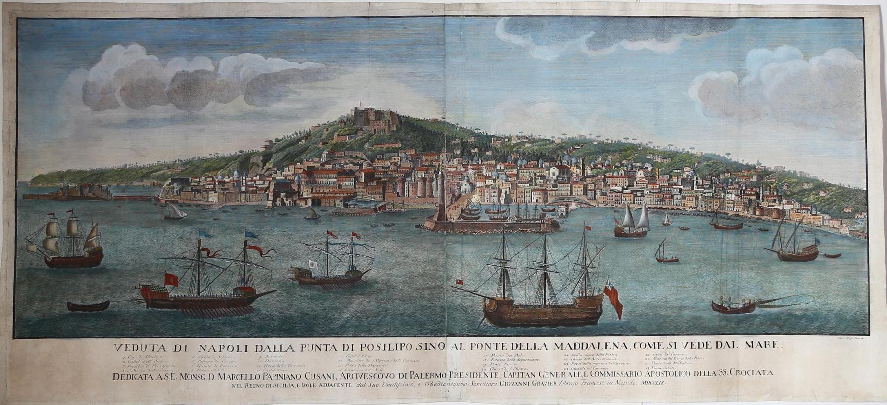 Veduta-di-Napoli-dalla-punta-di-Posillipo-sino-al-ponte-della-Maddalena-come-si-vede-dal-mare-Giovanni-Gravier-1759